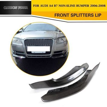 DCCKFS2 Car Style Front Splitters Lip Flaps Cupwings Carbon Fiber Car Aprons For Audi A4 B7 Standard 2006-2008
