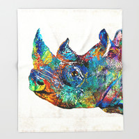 Rhino Rhinoceros Art - Looking Up - By Sharon Cummings Throw Blanket by Sharon Cummings | Society6