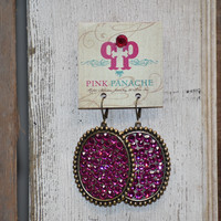 Pink Panache hot pink/bronze large oval earrings