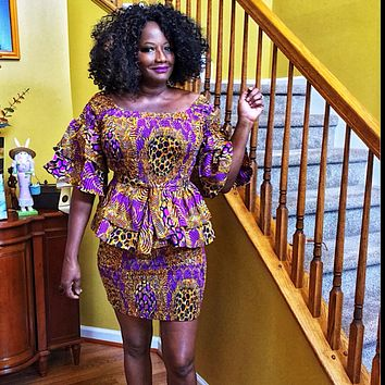 Cocoa Latte African Print Midi Skirt Set Two Piece
