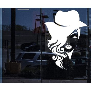 Window Vinyl Decal Wall Sticker Logotype Women Face Long Hair with Hat (n969w)