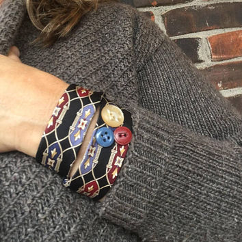 Fabric Cuff Bracelet Black Art Deco Jewelry Wrap Bracelet Repurposed Thank You Gift Get Well Any Occasion Gift For Her Woman Handmade Teen
