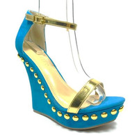 Women's Liliana Metallic Straps Studded Open Toe Wedges Mallika-34 Blue