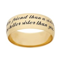 14k Gold Over Silver ''Sister'' Ring