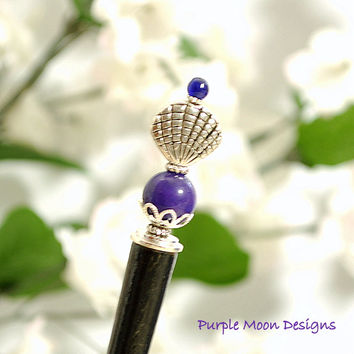 Purple Seashell Hair Stick, Beach Accessory, 5 inch