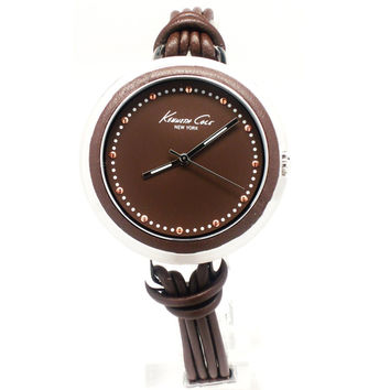 Kenneth Cole KC2652 Women's New York Brown Dial Brown Leather Corded Strap Watch
