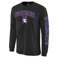 Men's Fanatics Branded Black Northwestern Wildcats Distressed Arch Over Logo Long Sleeve Hit T-Shirt