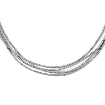 Leslies Sterling Silver Rhodium-plated Multi-strand with 2in ext. Necklace
