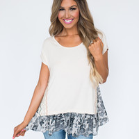 Ivory Floral Trim Top