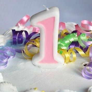 Pink 1 Number Candle White Premium Birthday Candle