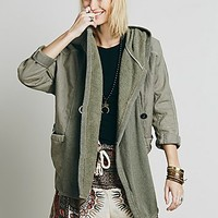 Free People Womens Knit Mixed Slouchy Jacket