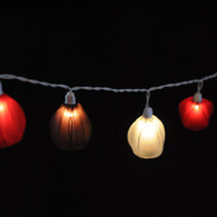 20 warm wood rustic color string light tulip lantern floral flower decorate light hanging party wedding display