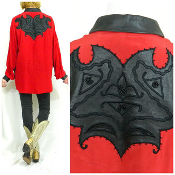 Vintage rodeo shirt / Silk cowboy top / Retro leather roper shirt / Western beaded red blouse / Unisex 80s shirt
