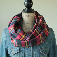 Multi Colored Plaid Scarf, Womens Scarf, Fall Scarf, Mens Scarf, Flannel Scarf, Winter Scarf, Gift for Her, Chunky Scarf, Back to School