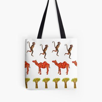 'Monkey,Camel and a tree ' Tote Bag by Manitarka