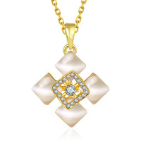 Gold Plated Quad Diamond Ivory Necklace
