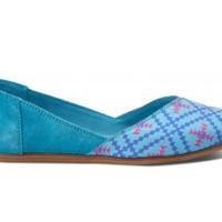 TOMS Shoes Algiers Blue Women's Jutti Flats,