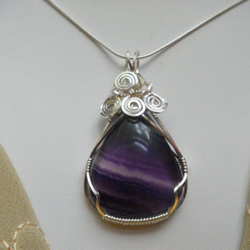 Blue Purple Fluorite Wire Wrapped Pendant