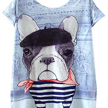 Amy Babe Womens Summer Casual Cute Graphic Pit Bull Printed Loose Tee Shirt Tops