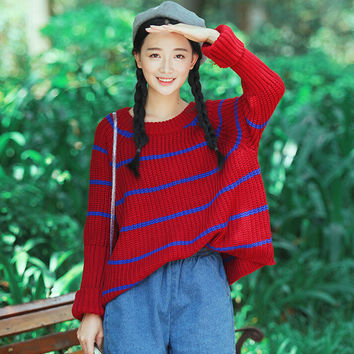 Stripe Loose Fit Pullover Knitted Sweater