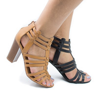 Action Natural Pu By Delicious, Open Toe High Heel Studded Huarache Sandal w Stacked Block Heel