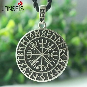 lanseis 1pcs ODIN'S SYMBOL OF NORSE RUNIC PENDANT men NECKLACE Viking Runes Vegvisir Compass Pendant - Dragon Soul Jewelry