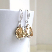 Swarovski Champagne Golden Shadow Foiled Pear Stone Sterling Earrings Bridesmaids Wedding Jewelry
