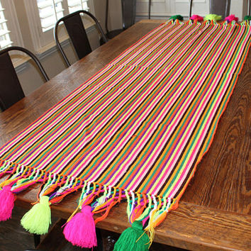 Boho bright colorful fiesta vintage tapestry woven table runner afghan with tassels