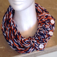 Denver Broncos Chicago Bears Detroit Tigers Finger Knit Infinity Eternity Circle Chunky Winter Scarf