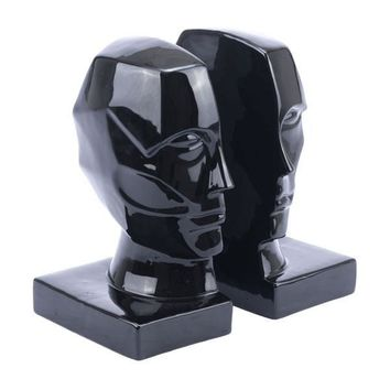 A11596 Face Bookends  Black