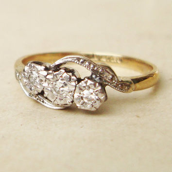 Art Deco Diamond Trilogy Ring, Antique Diamond Platinum and 9k Gold Engagement Ring, Approx.Size US 7