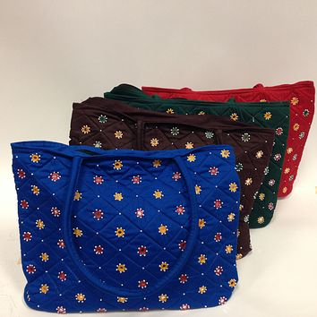BD-Mirror Work Embroidered Handbag - Blue, Brown, Green, Red