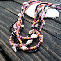 Necklace-Beaded Necklace-Braided Necklace-Boho Necklace-Boho Style-Beach Jewlery-Boho Jewlery-Hemp Jewelry-Shell Necklace-#324