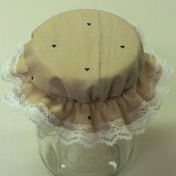 3 Tan with Navy Hearts Canning Jar Cover Bonnets