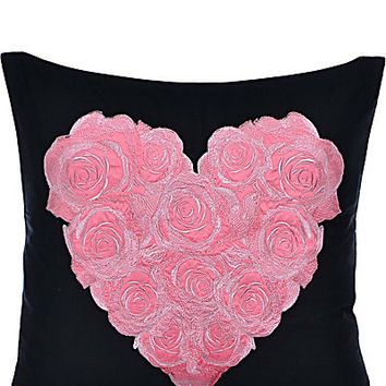 PUNK PRINCESS HEART EMBROIDERED PILLOW