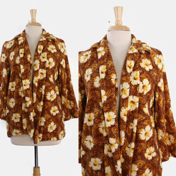 50s TROPICAL Hawaiian Terry Cloth COVER UP / 1950s Floral Print Towel Swing Beach Swim Jacket