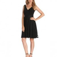 Isaac Mizrahi Women's Solid Wrapped Top with Lace Skirt Dress, Black, 14