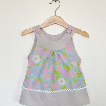 Girls top, 18-24 months, toddler clothing, retro kids, Etsy UK, handmade toddler, upcycled kids, vintage fabric