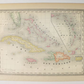 Vintage West Indies Map 1881 Rand McNally Map of West Indies, Caribbean Map Cuba, Bahama Islands Map, Dominican Republic Virgin Islands Map