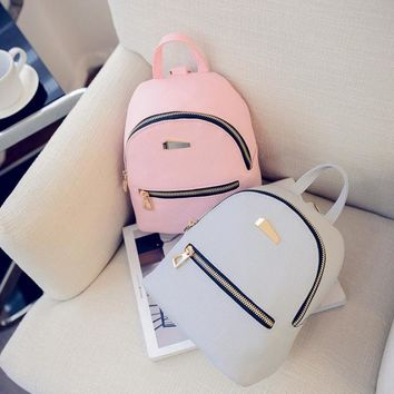 2017 Hot Womens Leather Backpacks Solid Grey Pink Black Schoolbags Bag Waterproof Casual Small Backpack Mochilas Mujer &1512