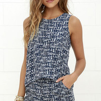 Olive & Oak Chances of Rain Navy Blue Print Romper