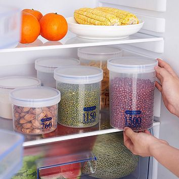 Plastic Sealed Cans Kitchen Storage Box Transparent Food Canister Keep Fresh Jar Bins Container Space-saving Fridge storage box