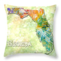 "Florida Map Fun Tropical Original Painting Design by Megan Duncanson Throw Pillow 14"" x 14"""