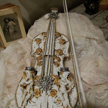 Cherub embellished violin ornate shabby French chic decorated fiddle w/ bow musical instrument adorned rhinestones decor anita spero design