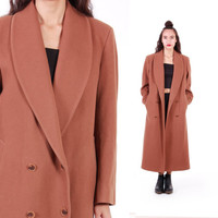 Burberry Wool Coat 80s 90s Vintage Tan Long Maxi Winter Outerwear Minimalist Classic Timeless Heavy and Warm Clothing Womens Size Large