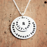 Personalized family necklace for Mom. Two charms stamped with up to five names.