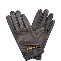 Hermes Black Leather Hook Gloves by What Goes Around Comes Around - Moda Operandi