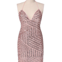 Pink Halter V-neck Backless Bodycon Sequined Midi Dress