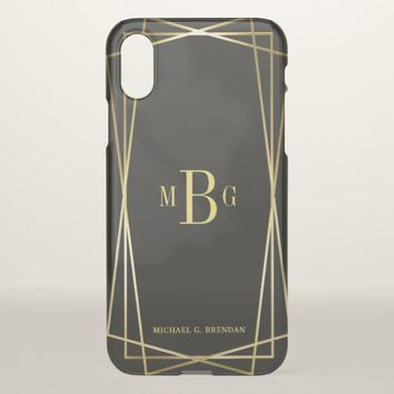 Men's Geometric Monogram with Gold Deco Frame iPhone X Case