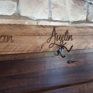 Rustic Personalized Wood Coat/ Towel Hanger